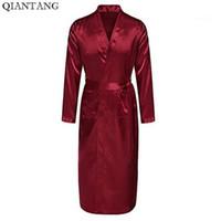 Бордовый мужской халат горячая распродажа искусственный шелк халат кимоно ванна платье ночная рубашка пижамы Хомбре пижама размер S М L ХL ХХL ZhM0551