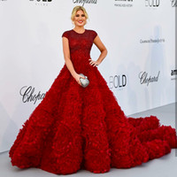 Michael Cinco Red Evening Dresses Short Sleeves Custom Made ...