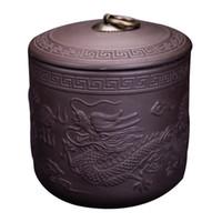Sello condimento arcilla púrpura de Phoenix del dragón del carrito de té de Puer Box recipiente de cerámica tarro de té almacenamiento Accesorios Especias frasco de té