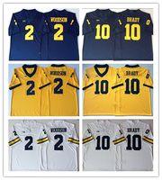 NCAA ميشيغان ولفرينس 2019 # 10 توم برادي جيرسي حار بيع 2 تشارلز وودسون البحرية الأزرق الأبيض الأصفر مخيط كلية لكرة القدم جيرسي s-3xl