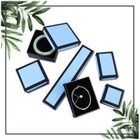 [DDisplay] Caja de regalo de la joyería BlueBlack creativa Cajas con anillos de glamour Pendiente mensual Exhibición de joyería pequeña Borde negro Paquete de caja de paquete