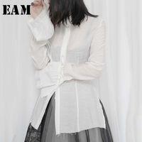 [EAM] Las mujeres blanca plisada delgada blusa de la nueva solapa de la linterna de la manga larga Holgado camisa marea de la moda de primavera y verano 2020 1W307