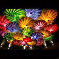 2020 년에 이탈리아 디자인 손에 날려 유리 연꽃 펜 던 트 램프 다채로운 접시 아름다운 장식이 색깔의 무라노 유리 샹들리에