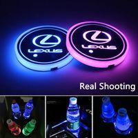 2 قطع أدى أضواء حامل كأس السيارة لكزس، 7 ألوان تغيير USB شحن حصيرة لومينسينت وسادة كأس، مصباح الجو الداخلية