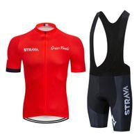 Tour de Francia 2020 Pro Team strava ciclismo Jersey Conjunto de verano transpirable de manga corta ropa de ciclo Conjunto Maillot Ciclismo de Hombres