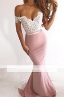 Elegante blush rendas rosa apliques fora do ombro vestidos de baile barato sereia vestido de noite longa dama de honra formal vestidos de festa bm0840