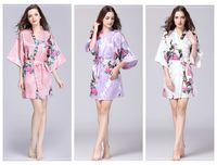 Floral Kimono pajams filles été dame chemise de nuit 12 styles femmes vêtements de nuit soie robe de nuit de pjms V-cou