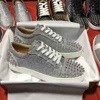 dos homens inferiores Designer Marca de luxo Seavaste 2 Orlato Glitter de couro Júnior Red Sneakers Shoes Designer Studs Casal Lazer Streetwear Plano
