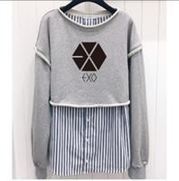 5048382281e New Arrival. Korean EXO stripe splice long-sleeved round neck hoodies women  casual clothes kpop BLACKPINK fashion Fake two pieces sweatshirt