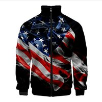 Men' s Jacket Long Sleeve Stand Collar Stripe Eagle Prin...