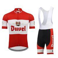 حمراء Duvel البيرة MEN ركوب الدراجات جيرسي مجموعة البيرة الفريق المؤيد الدراجات الملابس 19D هلام وسادة تنفس MTB ROAD MOUNTAIN ارتداء الدراجة سباق ملابس