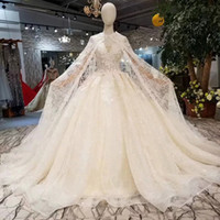 Long Cape Off The Shoulder Sweetheart Lace Up Wedding Gowns ...
