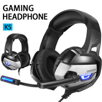 K5 Gaming Earphones Over-Ear Gaming Wired Headphones Surround Stereo Noise Reduction with Mic LED Light for PC Tablet Device In retail Box