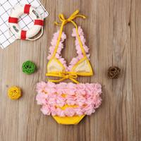 2019 الجديدة Toddled طفل طفلة ملابس الصيف اثنين من قطعة زهرة بيكيني شاطئ ثوب السباحة ملابس الأطفال