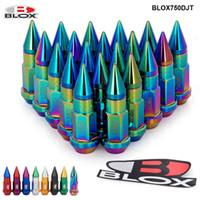 20pcs / set blox 레이싱 jdm 스타일 50mm 알루미늄 확장 튜너 러그 너트 바퀴에 대 한 스파이크 rims m12x1.25 / m12x1.5 blox750djt