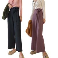 Pantalones para mujer Capris Casual suelto Vintage Elegante Elegante Bow Pie High Cintura ancha Pierna Pantalones Pantalones de gran tamaño Sólido Largo Tallo MUJER