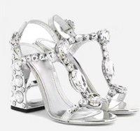 العلامة التجارية الجديدة 2020 حجر الراين مسمار الصنادل المرأة الكعب العالي الشظية سيدة المصارع الصنادل أزياء بلينغ بلينغ حزب أحذية الماس أحذية الزفاف
