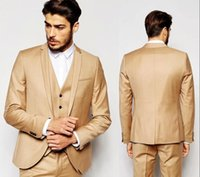 New Fashion Gold Wedding Suits Custom Made Handsome Slim Fit...