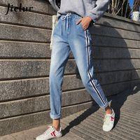 Jielur Boyfriend Calça Jeans De Cintura Alta S-5xl Stripe Pantalon Calça Jeans Femme 2019 Estilo Coreano Plus Size Feminino Jeans Fino Dropshipping Y19042901