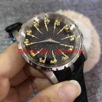 Рыцари круглого стола Часы Montre de luxe автоматические Смотреть кожаный ремешок складной пряжки