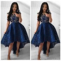Elegant Sheer Short Sleeves High Low Prom Dresses Lace Appli...