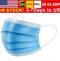 Amerikaanse voorraad! 50 stks / partij 3 laag niet-geweven comfortabel wegwerp gezichtsmasker mond elastische Earloops Masks Ademend schip met 24 uur