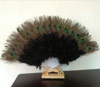 Il ventilatore della piuma del pavone Doghe Fan di plastica per il costume del partito di ballo palmare decorativo Ventaglio pieghevole multi-color RRA2500