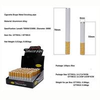 Tuyaux de tabagisme en métal de forme de cigarette d'alliage d'aluminium de 55mm 78mm populaires 100pcs / boîte Un tuyau de tabac à fumer de batte de batteur avec la boîte au détail