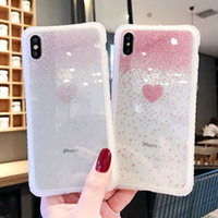 Блеск Transparent Cute Love Heart Pattern противоударный телефон чехол для iPhone11 Pro Max XR X XS Max 6 6S 7 8 Plus