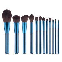 12 stücke Indigo Blau make-up pinsel OEM LOGO Professionelle Make-Up Pinsel Werkzeuge Foundation pulver lip Eye Contour erröten pinsel