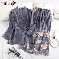 Весна Осень Pijamas Женщины Сексуальное белье сна Носите Комплект с длинным рукавом пижамы пижамы Pyajama Femme Ladies Night Suit Fdfklak SH190925