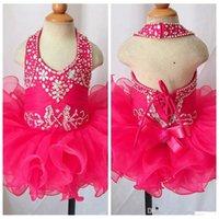 Холтер девушки конкурс кекс платья новорожденных девочек бисером горный хрусталь бисером мини платье малыш Принцесса оборками пачка платье для новорожденных девочек