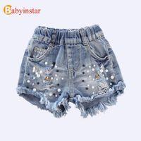Babyinstar Denim 2020 Verão Crianças Crianças Cowboy pérola buraco Roupa para meninas Jeans Shorts Y200704