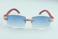 2020 Novos óculos de sol óculos de personalidade de diamante completo T3524012-22 Óculos de sol sem fronteiras de luxo Natural Tiger Wood Wood Weapon Diamond Frame