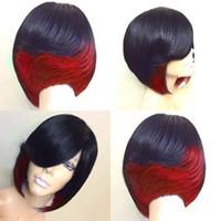 Sıcak moda Kadın Lady Kısa Düz sentetik saç Çok renkli kıvırcık saç baş yeşil mor şarap saç WIG-128 perukları