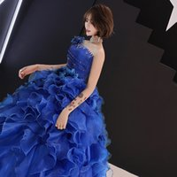 Color yarn wedding Student Art exam dress stage fluffy skirt...