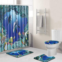 Salle de bain Rideau de douche Blue Ocean Dolphin Imprimé étanche Rideaux d'eau Baignoire couvercle toilettes couverture Tapis de bain Ensemble non-Slip Socle Tapis