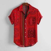 KANCOOLD Shirt Mens Vintage ethnique feuillettent collier vers le bas à manches courtes en vrac Chemises Hip Hop Streetwear Homme Camisa Jun1