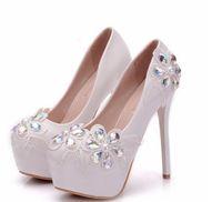 بلينغ بلينغ الدانتيل الأبيض أحذية الزفاف الكريستال ل العروس عالية الكعب العروس أحذية الزفاف شحن مجاني مغلق تو