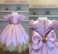 Милая розовая принцесса цветок девушка платья с коротким рукавом драгоценные камни большой лук вечером день рождения платье жемчуг кружева детские девушки пагентное платье