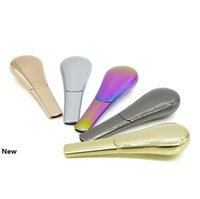 Spoon Smoking Pipe 9 Colors Portable Creative Metal Tobacco Pipe with Cover Zinc Alloy Cigarette Holder Box OOA7087-4
