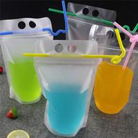 Limpar bebida bolsas Bolsas fosco Zipper Stand-up plástico Beber saco com palha com 17 onças titular Reclosable Heat-Proof