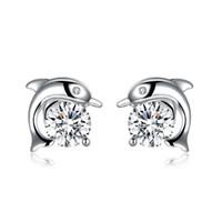 지르콘 스터드 귀걸이 돌고래 무늬 S925 실버 도금 액세서리 귀걸이 럭키 귀여운 디자인 클래식 발렌타인 데이 선물 POTALA943