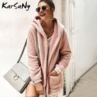 Piel de mujer Faux Karsany Mujer Abrigo con capucha Abrigos de invierno para chaquetas Pink 2021 Mujer con capucha cálida Chaqueta para mujer Sudadera con capucha