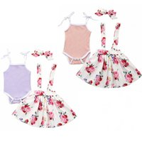 Baby Girls Slip Rompers Suspender Skirts Headband Clothing Sets Kids Slid Top Floral Printed Dresses Bowknot Hairband Suits YP626