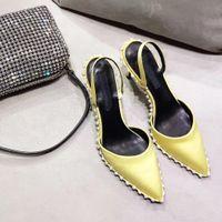 yellow satin rina slingback pump nova crystal embellished high heel shoes with chain mesh rhinestone pouch r women shoes