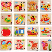 아기 3D 퍼즐 퍼즐 나무 장난감 어린이를위한 나무 장난감 만화 동물 트래픽 퍼즐 지능 아이들 초기 교육 훈련 장난감 22 스타일