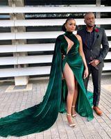 2020 arabo Aso Ebi più i vestiti da sera verde della sirena sexy alta Split Prom Dresses Velvet partito convenzionale seconda accoglienza abiti ZJ365