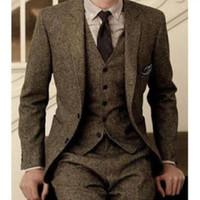 2019 Vintage Erkekler Yün Tüvit Takım Elbise 3-Piece Kahverengi Balıksırtı Takım Elbise Özel Slim Fit Damat Düğün Smokin Giymek