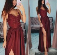 High Quality A Line Burgundy Prom Dresses Floor Length Chiff...